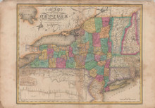 State of New York Antique Map Burr 1829