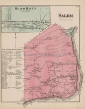 Salem Beach Haven Pennsylvania Antique Map Beers 1873