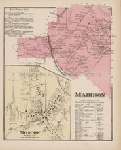 Madison Moscow Pennsylvania Antique Map Beers 1873