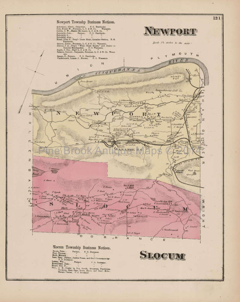 Original Newport Slocum Pennsylvania Antique Map Beers 1873 For Sale
