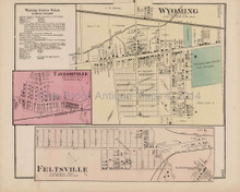 Wyoming Taylorville Feltsville Pennsylvania Antique Map Beers 1873