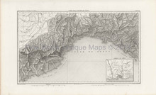 Antique Map French Riviera Thiers 1864