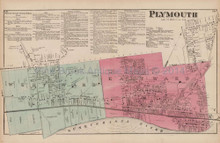 Plymouth Pennsylvania Antique Map Beers 1873
