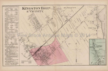 Kingston Raubville Pennsylvania Antique Map Beers 1873