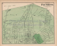 Flushing Queens New York Vintage Map Beers 1873