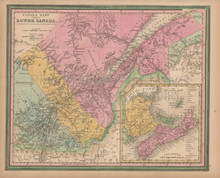 Lower Canada Quebec Vintage Map Tanner 1845 Original