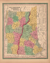 New Hampshire Vermont Vintage Map Tanner 1845 Original