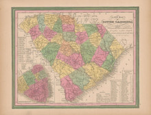 South Carolina Vintage Map Tanner 1845 Original