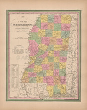 Mississippi Vintage Map Tanner 1845 Original
