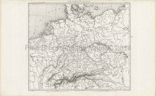 Antique Map Northern Europe Thiers 1864