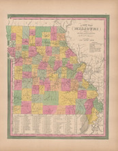 Missouri Vintage Map Tanner 1845 Original