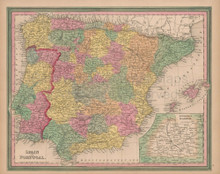 Spain Portugal Vintage Map Tanner 1845 Original