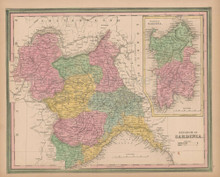 Sardinia Kingdom Vintage Map Tanner 1845 Original
