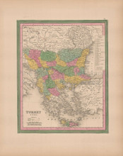 Turkey In Europe Vintage Map Tanner 1845 Original