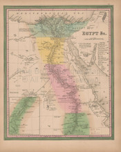 Egypt Vintage Map Tanner 1845 Original