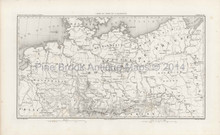 Antique Map Allemagne Germany Thiers 1864