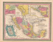 Mexico Guatemala Antique Map Cowperthwait 1853
