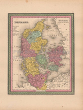 Denmark Antique Map Cowperthwait 1853