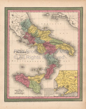 Naples Kingdom Antique Map Cowperthwait 1853