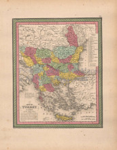 Turkey Europe Antique Map Cowperthwait 1853