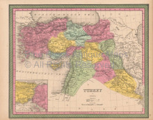 Turkey Asia Antique Map Cowperthwait 1853