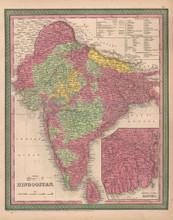 India Hindoostan Antique Map Cowperthwait 1853