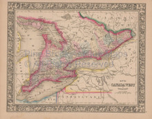 Ontario Canada Vintage Map Mitchell 1864