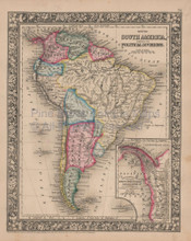 South America Vintage Map Mitchell 1864