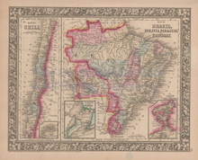 Brazil Chile Vintage Map Brazilian Decor History Gift Ideas Mitchell 1864