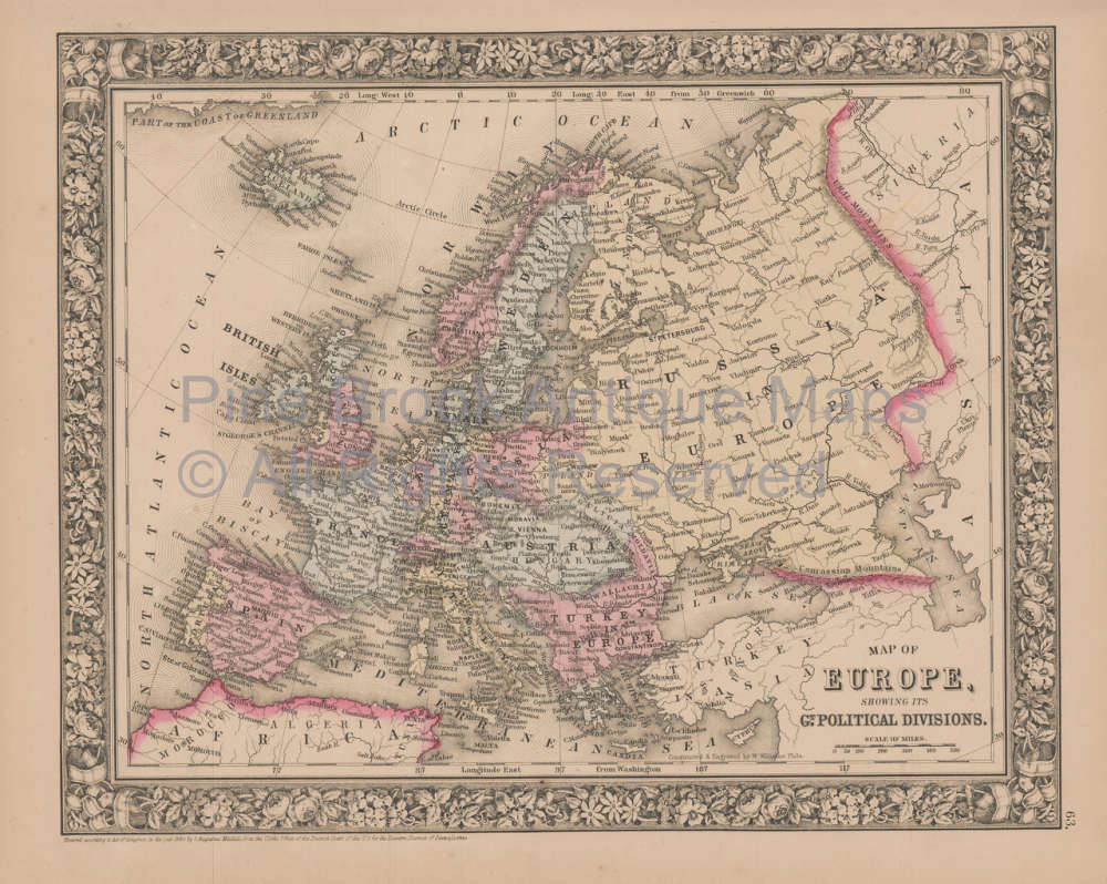 Map Of Europe For Sale.Europe Vintage Map Mitchell 1864 For Sale Authentic European Decor