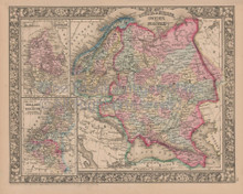 Russia in Europe Vintage Map Mitchell 1864