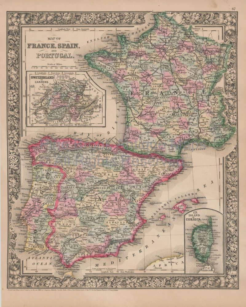 Map Of Spain For Sale.France Spain Vintage Map Mitchell 1864