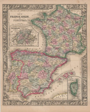 France Spain Vintage Map Mitchell 1864