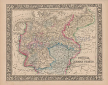 Prussia German States Vintage Map Mitchell 1864