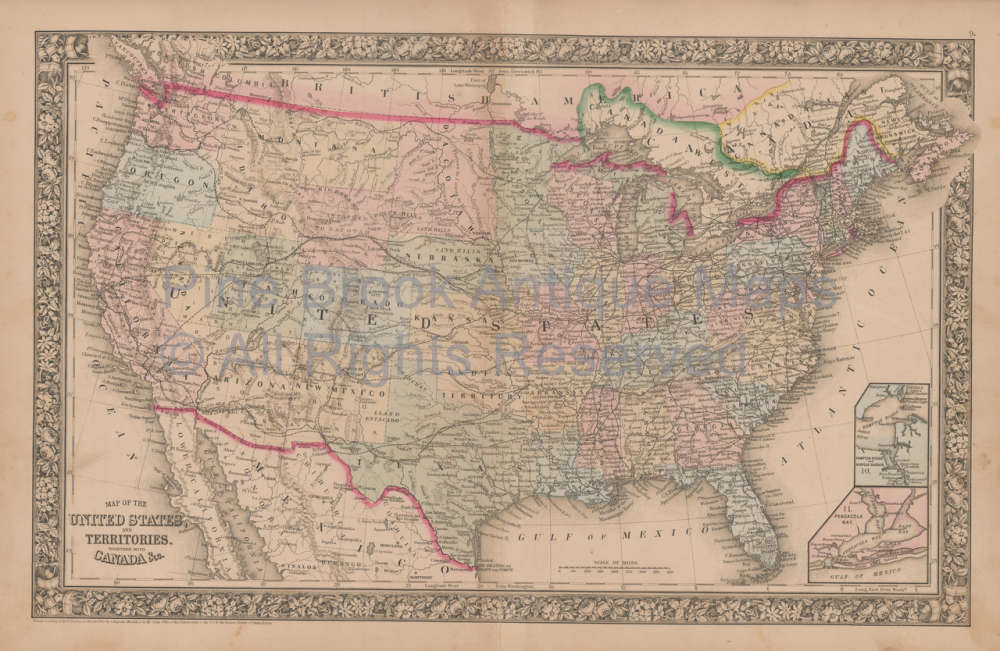 Original United States Vintage Map Mitchell 1864 For Sale Home Decor - Us-map-1864