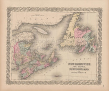 New Brunswick Nova Scotia Canada Vintage Map Colton 1856