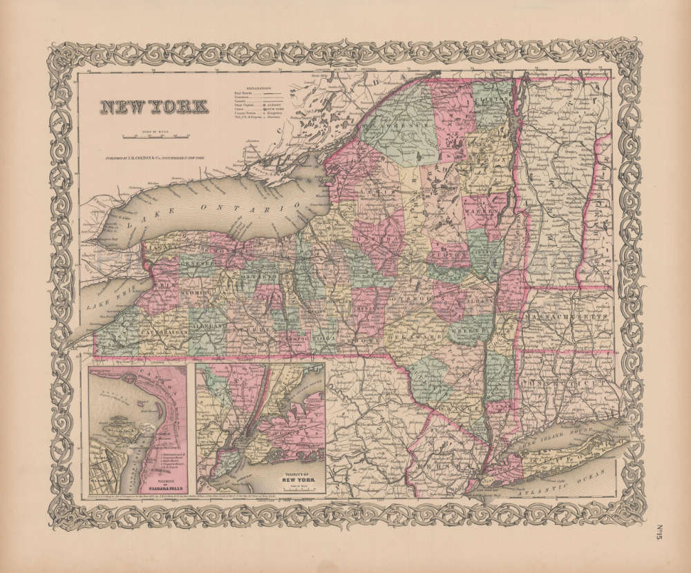 Map Of New York For Sale.New York State Vintage Map Colton 1856