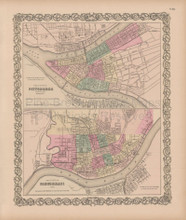 Pittsburgh Cincinnati Vintage Map Colton 1856
