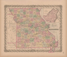 Missouri Vintage Map Colton 1856