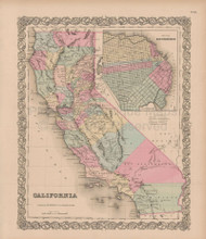 California Vintage Map Colton 1856
