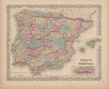 Spain Portugal Vintage Map Colton 1856