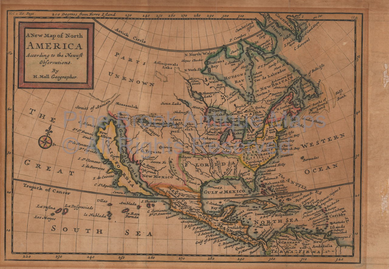North America With California As An Island Antique Map Moll 1720
