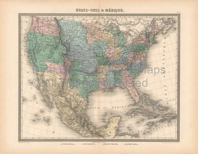Mexico Map 1850.United States Mexico Antique Map Furne 1850 Original For Sale United