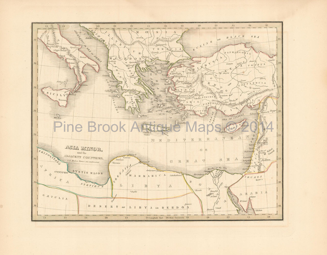 Original Antique Map Asia Minor Turkey Bradford 1835 For Sale Home