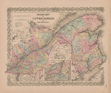 Quebec Canada Vintage Map GW Colton 1855
