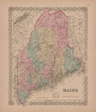 Maine Vintage Map GW Colton 1855