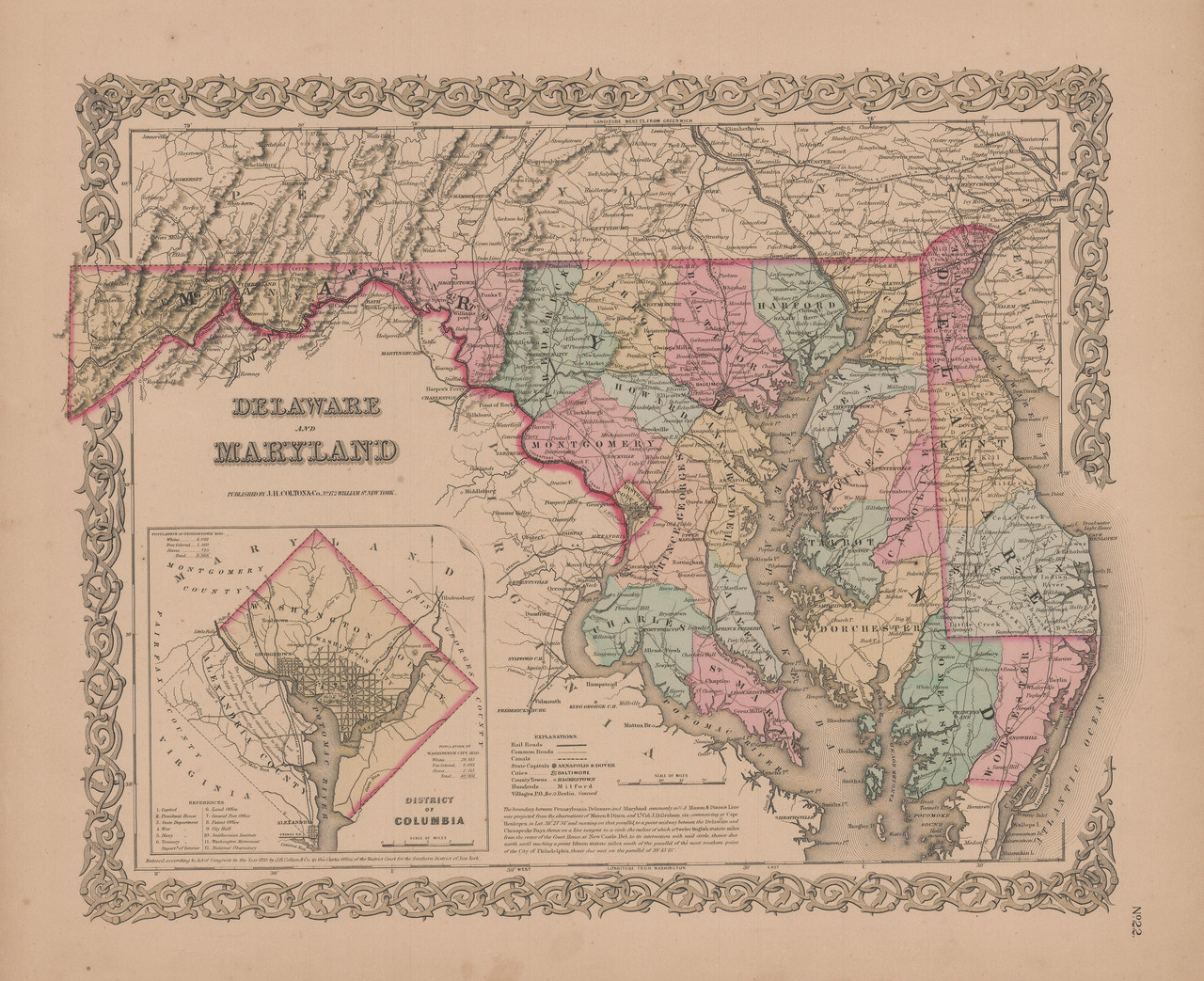 Delaware and Maryland Vintage Map GW Colton 1855