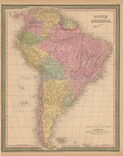 South America Antique Map Mitchell Cowperthwait 1853