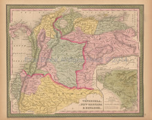 Venezuela Colombia Antique Map Mitchell Cowperthwait 1853