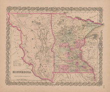 Minnesota Vintage Map GW Colton 1855